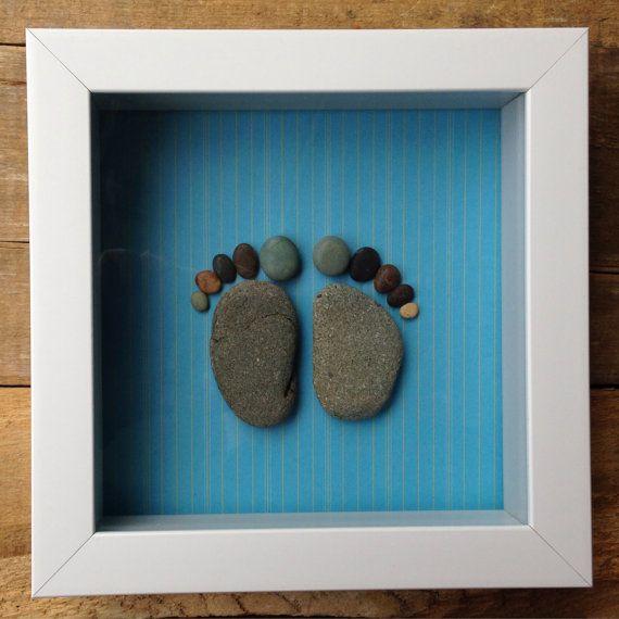 Shadowbox/ Baby Feet Prints/ Baby Keepsake/ Baby Shower Gift/ Pebble Art/ Baby Boy