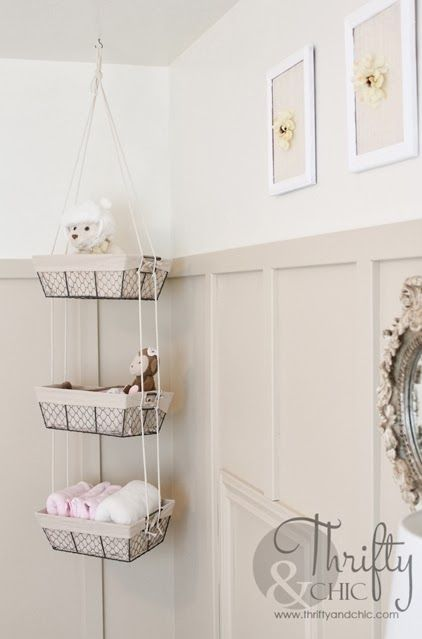 DIY Hanging Storage Baskets -all you need are baskets and some rope!