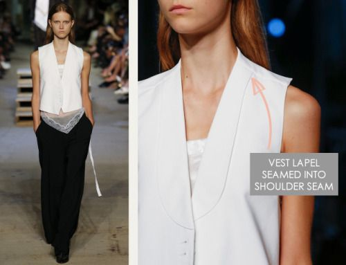 Lingerie and Tailoring at Givenchy | The Cutting Class. Givenchy, SS16, New York, Image 25. Vest lapel seamed into shoulder seam.