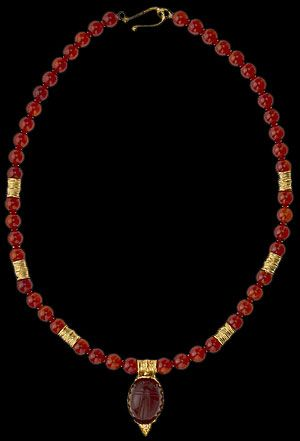 ancient scarab museum beads | Carnelian Bead Necklace with Scarab Pendant, Roman Jewelry, Roman and ...