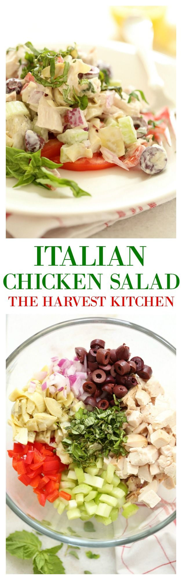 This Healthy Italian Chicken Salad has a slight Mediterranean twist. It's loaded with chunks of tender chicken breast, red bell pepper, red onion, kalamata olives, artichoke hearts, celery and fresh herbs (basil, oregano and parsley). @theharvestkitchen.com