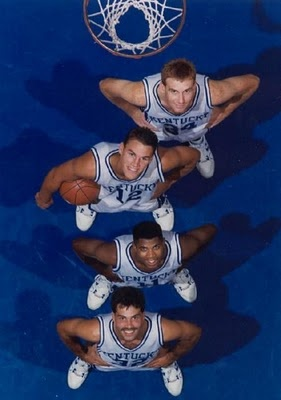 """""""The Unforgettables"""" were the four seniors on the 1991-92 University of Kentucky mens basketball team.  John Pelphrey, Deron Feldhaus, Sean Woods, and Richie Farmer remained with the UK program despite two years of probation.  Their loyalty helped return the Wildcats to national prominence.  All four jerseys are retired at Rupp Arena."""