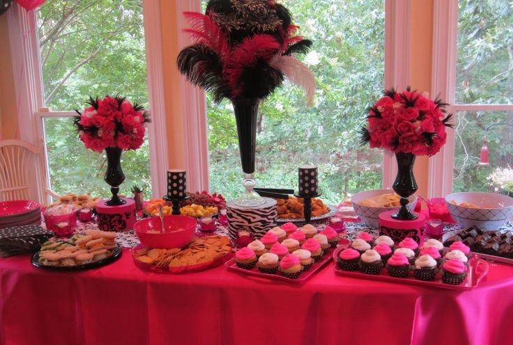 Lingerie Shower Decorations | We had a really nice spread of food and cute table decorations.