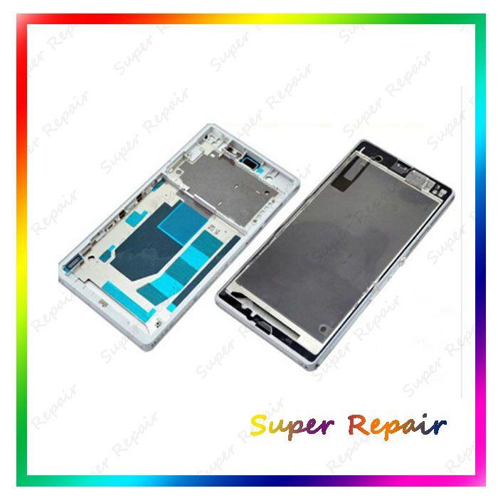 Белый Черный Фиолетовый Передняя рамка Корпуса Для Sony Xperia Z L36h C6603 Ближний Рамка Рамка Плиты с кнопка Питания + клавиша Регулировки Громкости
