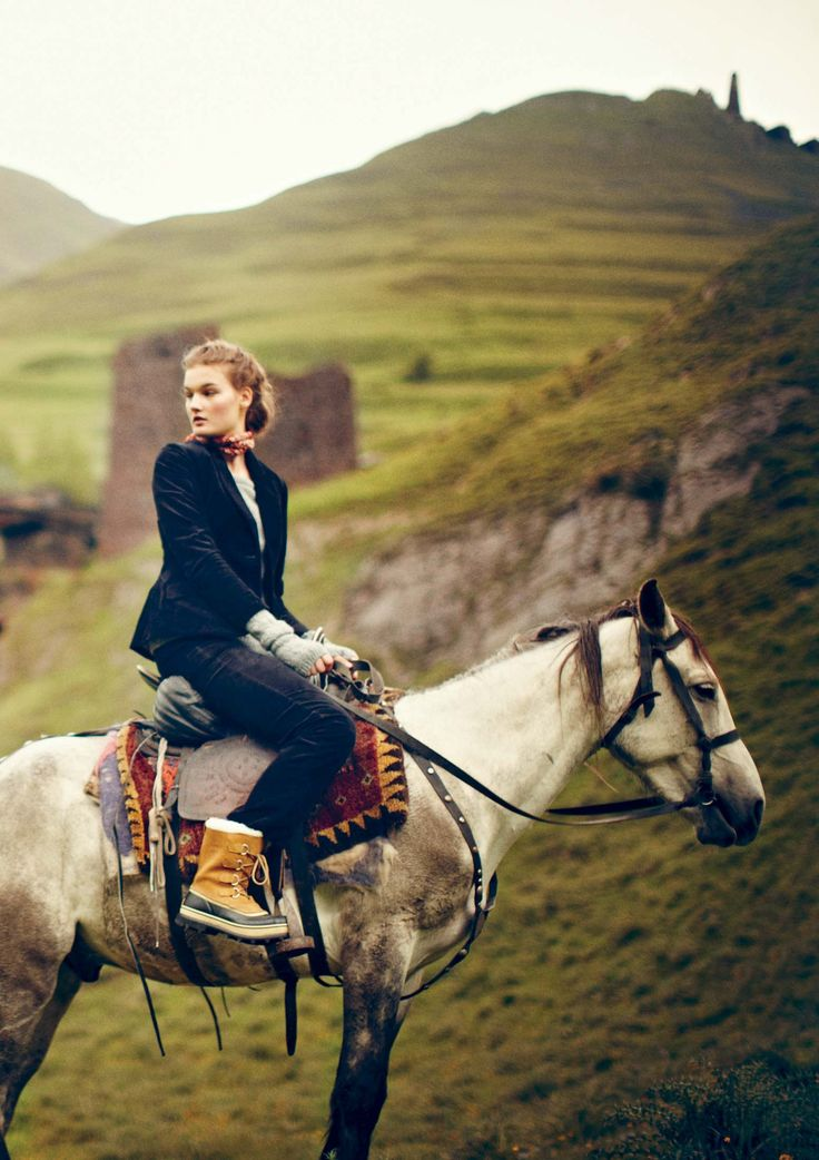 Horseback riding throughout the English countryside. Boots, saddle pad, blazer and horse are absolutely perfect! -z