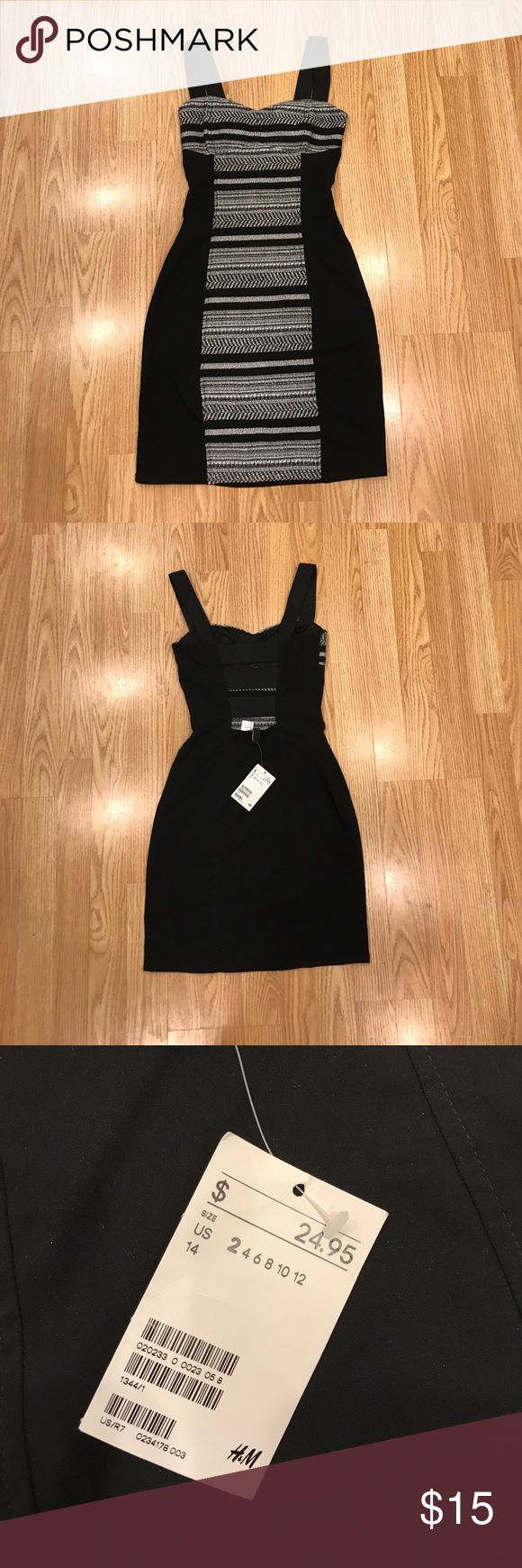 H&M bodycon dress New with tags. Black and white Aztec inspired print with strappy back. Stretch fabric H&M Dresses Mini