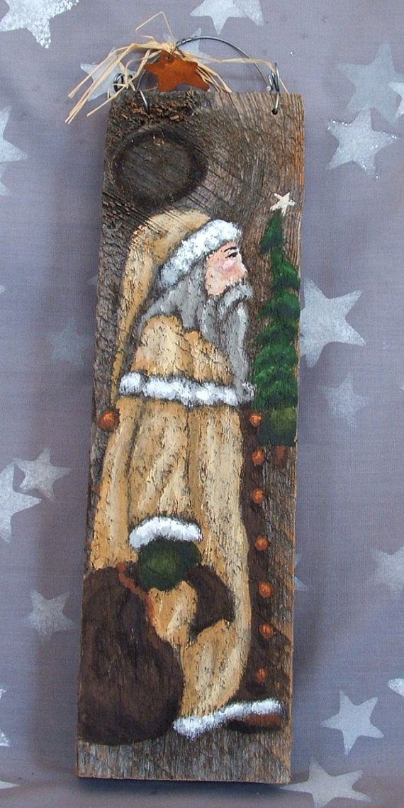 Small Gold Santa authentic barnwood hand painted 3 by SuzysSantas, $20.00