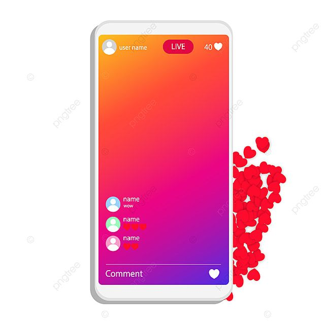 Instagram Live Broadcasting Via Social Media Stream Interface Social Png And Vector With Transparent Background For Free Download Live Broadcast Instagram Logo Instagram Live