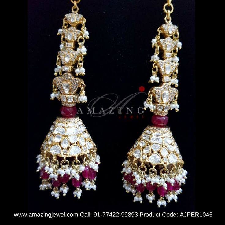 """#AmazingJewel #Earrings Crafted in #Sterlingsilver in 92.5 with #Crystal #Polki with back chain support, #Rubyglass filled #beads #mustbuy #AJPER1045 www.amazingjewel.com Call: 91-77422-99893"