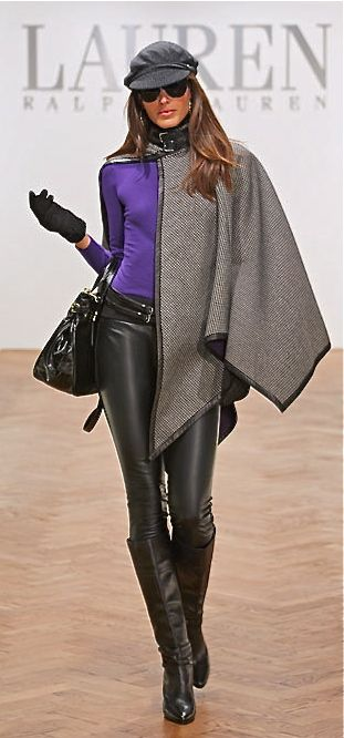 11. Ralph Lauren F/W 2012. The cape from this collection looks very similar to cloaks, worn by men. It has a cut on the side, has little buckles on the top, not too much draping. The difference is that modern cloak is too short.