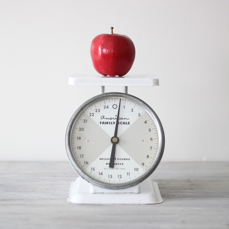 white vintage kitchen scale