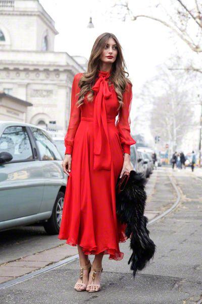 D g red dress elegant