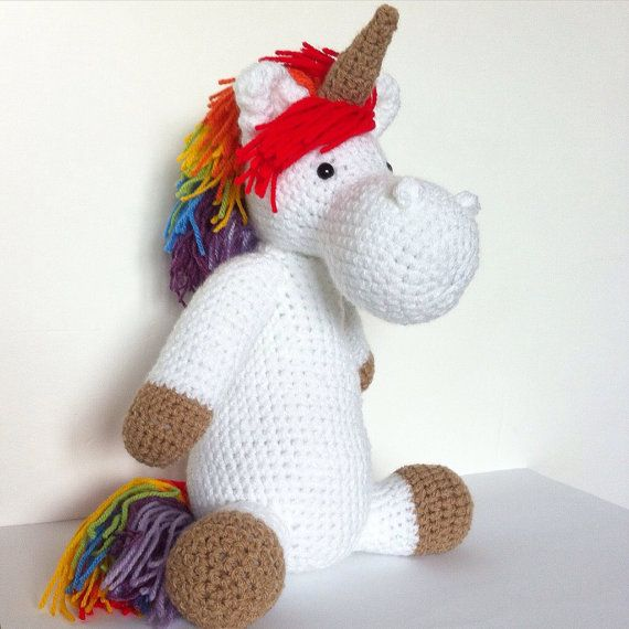 Unicorn crochet plush doll  handmade amigurumi  girl nursery
