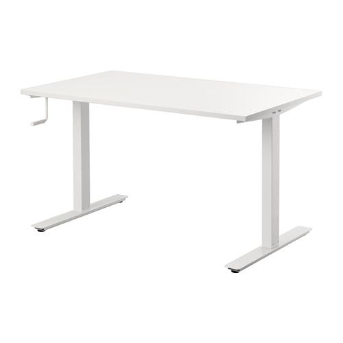 "IKEA's Skarsta Sit/Stand Desk — easily adjust the height of the desk between 27 1/2"" and 47 1/4"" by just cranking the handle,"