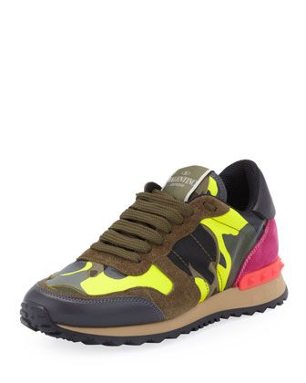 Rockstud Camo-Print Sneaker, Green/Yellow by Valentino at Neiman Marcus.