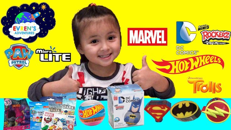 Surprise Toys Marvel Paw Patrol Troll Blind Bags Hot Wheels capsule DC Comics Minis Rockerz Reviews. Join Evren opening Marvell Series 3, Paw Patrol Micro Lite, Dreamworks Troll Blind Bags Series 3, Hot Wheels capsule, DC Comics Minis Rockerz, Superman, Batman and Flash Surprise collectible toys candy boxes. There are a lots of surprise toys and yummy candy inside and they are super cool toys. Great Kids video for children who loves opening surprise blind bags and playing with toys.