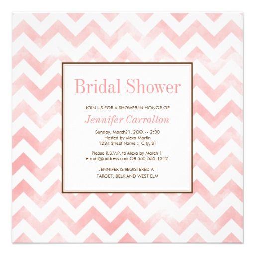 Watercolor Chevron Bridal Shower Invitation