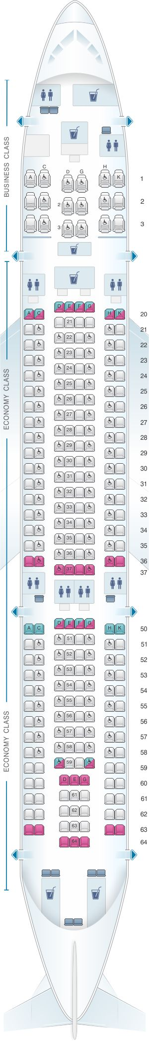 Seat Map SriLankan Airlines Airbus A330-200 Config. 1