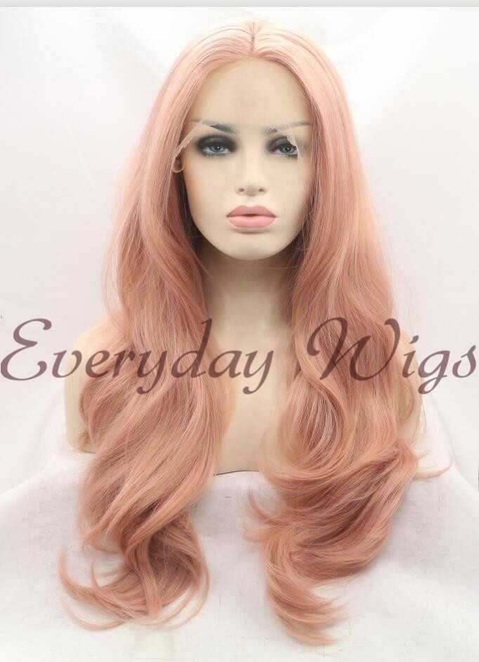 """26\"""" Candy Pink Wavy Synthetic Lace Front Wig-edw1082 $92 @everydaywigs.com"""
