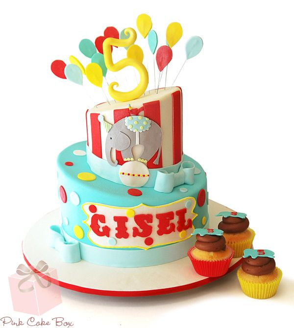 Gisel's Circus Themed Birthday Cake by Pink Cake Box in Denville, NJ.  More photos at http://blog.pinkcakebox.com/gisels-circus-themed-birthday-cake-2013-11-03.htm