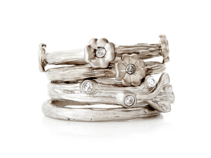 Silver Flower Stacking Rings