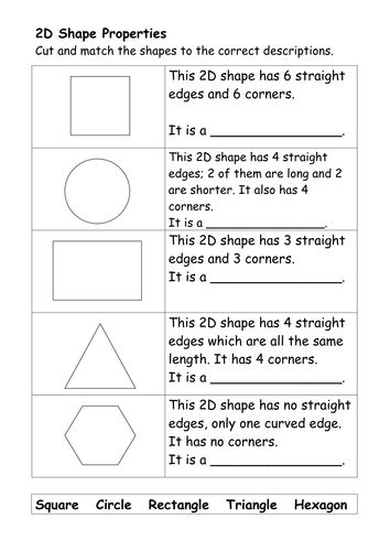 Image result for worksheets to teach properties of 2d shapes