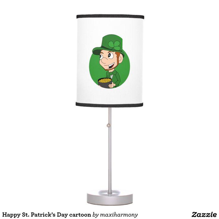 Happy St. Patrick's Day cartoon Table Lamps