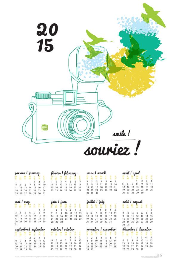 Carococo/ Calendrier 2015 Calendar / Souriez  by caropedno on Etsy, $15.00