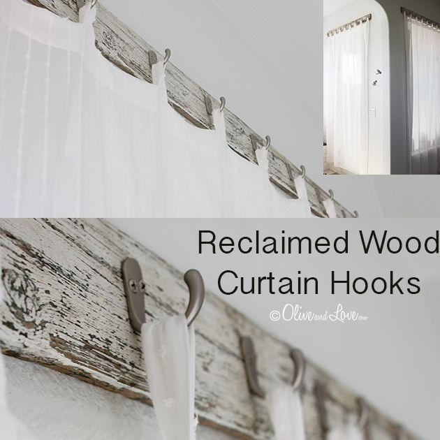 Ok this is ingenious! Inexpensive hooks on reclaimed wood is used to hang your shower curtain. Much better privacy!