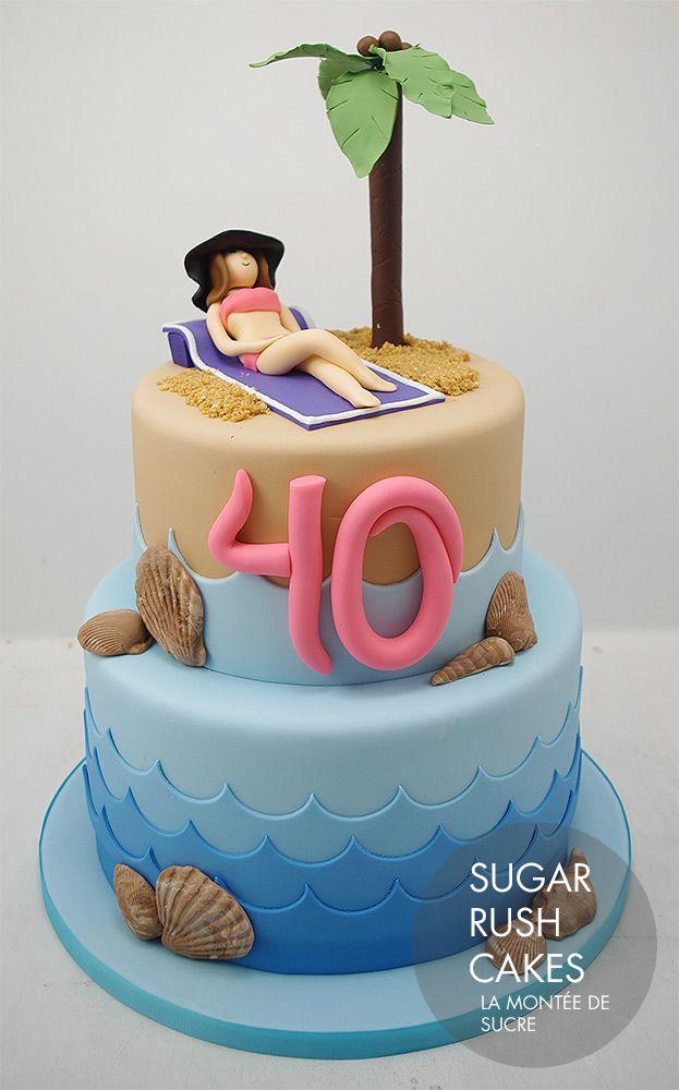 Sun Bathing Beach Cake
