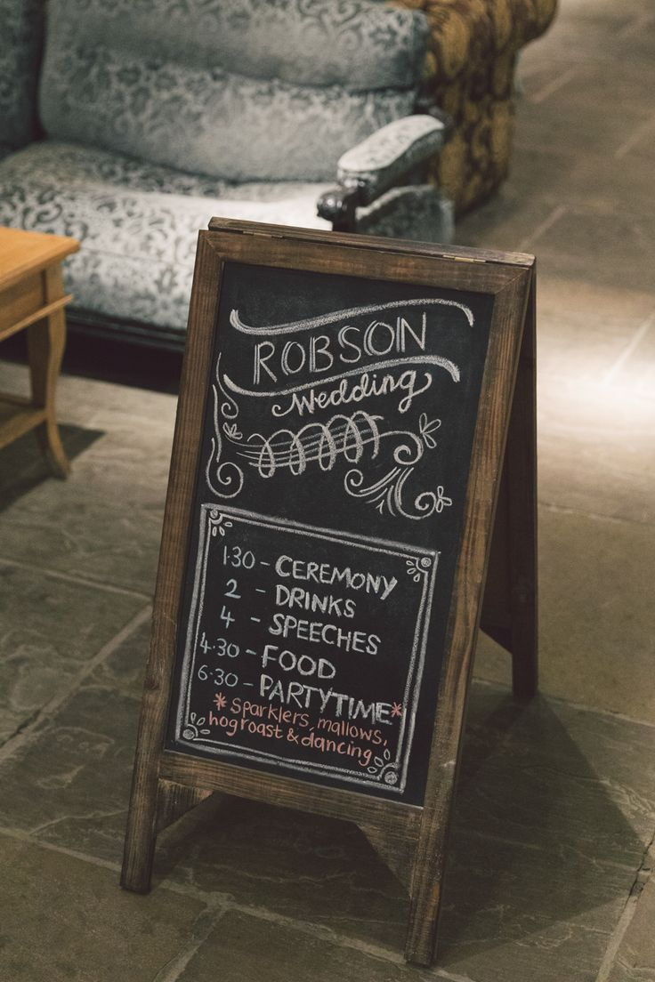 A Personal and Rustic Wedding at Newton Hall. Wedding signage.  Image by Eve Photography.  Read more: http://bridesupnorth.com/2016/05/30/teal-appeal-a-personal-and-rustic-wedding-at-newton-hall-jess-andy/