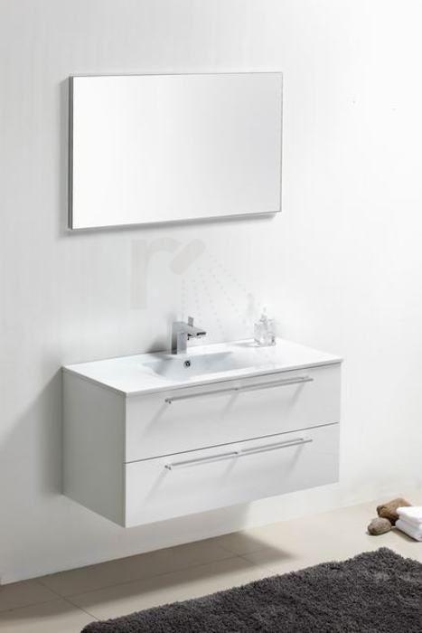 € 799,- Lambini Designs Roma badmeubel - Hoogglans wit - 100x46x52cm - 1 kraangat incl. spiegel. verkrijgbaar in antraciet. #meubel #keramiek #badkamer