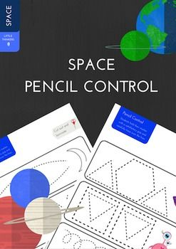 Space themed Pencil Control Practice Strips