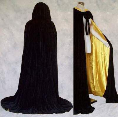 Black+Velvet+Cloak+Lined+in+Yellow+Satin+:+Artemisia+Designs:,+Historical+and+Fantasy+Apparel+for+the+Regular+and+Plus+Size+-+Renaissance,+Medieval,+Victorian,+Cloaks,+and+LARP