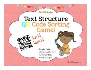 COMMON CORE aligned!  Kids LOVE this interactive method for practicing the 5 main types of text structure!  By using the nonfiction summary on the 20 different game cards, students will make a determination about the type of text structure (problem/solution, cause & effect, description, compare/ contrast, and sequence) and be able to gain immediate feedback by scanning the provided code!  Grab an iPAD, iPOD, or other device and download a free QR scanner app and you are ready to go ...