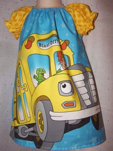 Handmade-I-Love-School-and-Bus-Girls-Dress-Size-2t-19-in-length