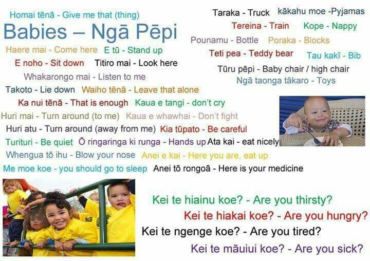 Basic phrases to use with nga pēpi
