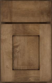 Schuler Cabinets | Holbrook door in rustic Maple natural with a burnt sienna glaze ~ request extra rustic... ADD distressed finish