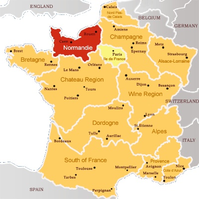 French Map With Normandy In Red