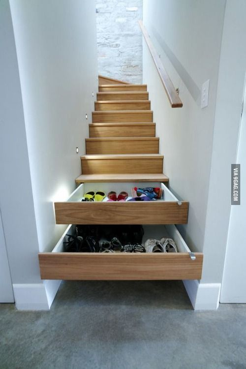 """Brilliant Idea : no idea how to """"DIY"""" but genius : storage solutions : every house needs this : stairs : staircase : smart"""