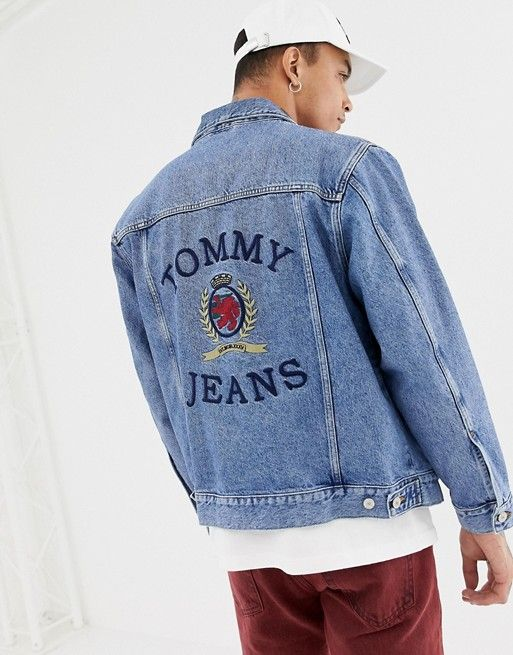 f49b262f Tommy Jeans 6.0 limited capsule denim jacket with large crest back detail  in mid wash denim
