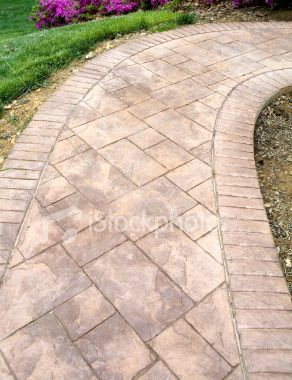 Stamped Concrete Sidewalk Royalty