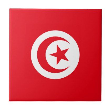 #Tunisia Flag Ceramic Tile - #country gifts style diy gift ideas