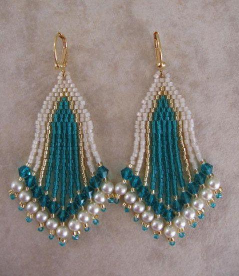 Seed Bead Earrings  Beadwork  Zircon/Teal by pattimacs on Etsy, $22.00