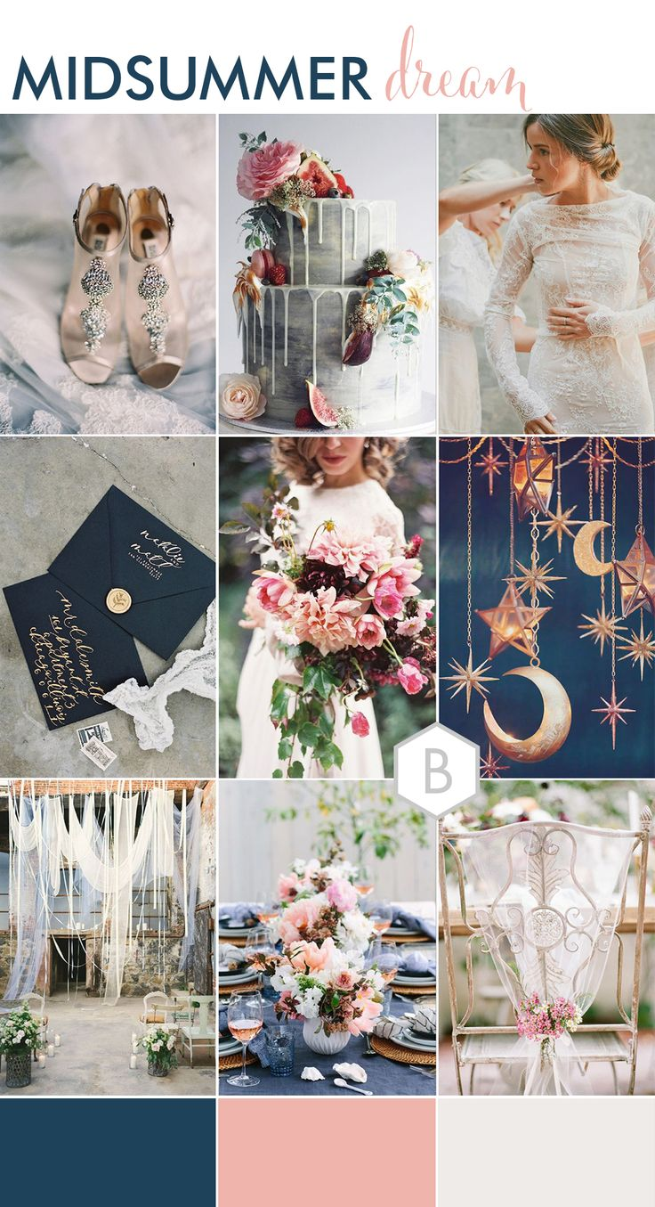 Boho Luxe Wedding Mood Board with Navy blue and pink