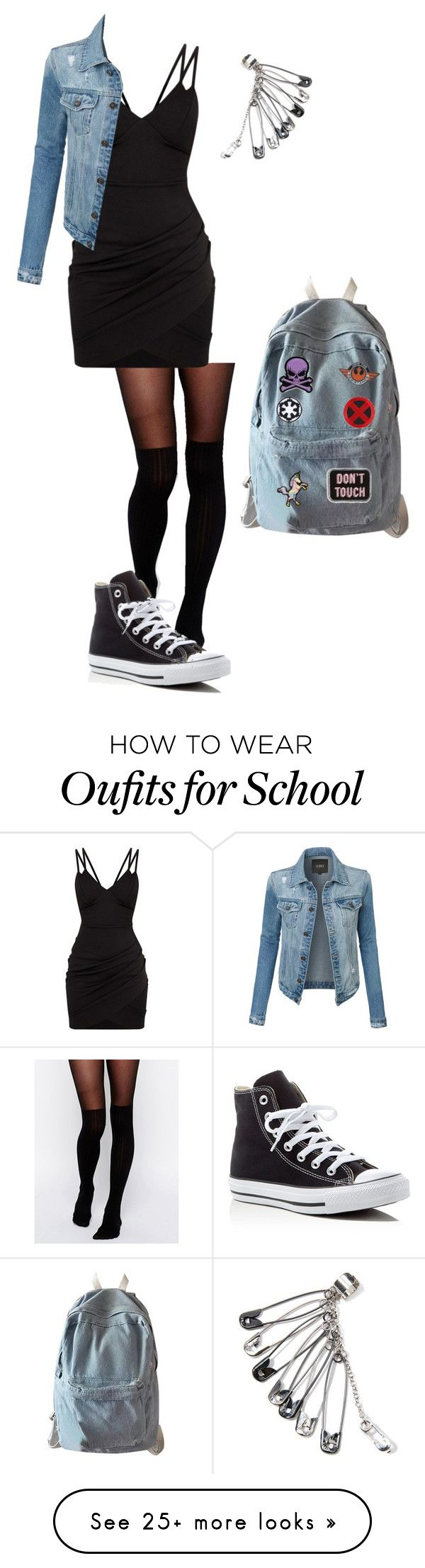 """Whatever..."" by the-whitewolf on Polyvore featuring ASOS, LE3NO, Converse, WithChic, Ankit, Disney, Hot Topic, Stoney Clover Lane and Logophile"