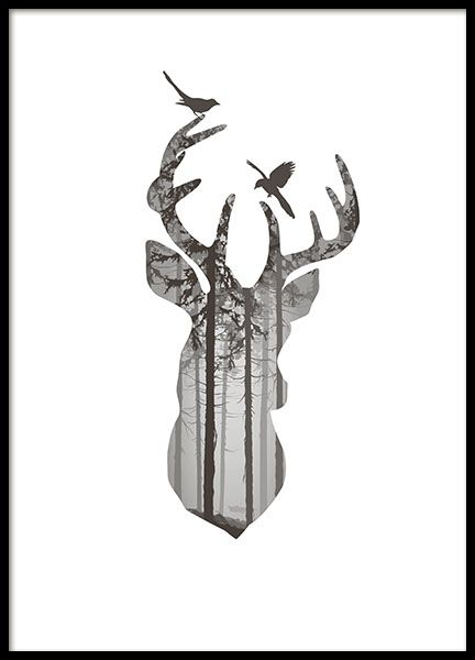 Graphic Deer silhouette, poster in der Gruppe Post…