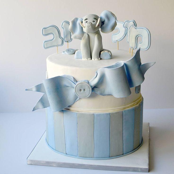 Baby boy (bris) cake. #customcake #fondant #cakestagram #elephant #blue #bow #chocolatecake #vanillabuttercream #ganache #babyshower #babyboy #kosher #sweet @satin.ice @haikforbakers
