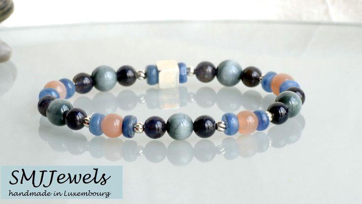 """Bracelet perles homme  cyanite heishi oeil-de-faucon """"hawk eye"""" pierre de lune iolite argent 925  pierres naturelles pierres semi-précieuses"""
