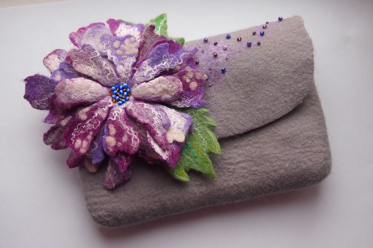 Felted bag-Felted handbag-Felted fanny pack-Floral from YuliasFeltworld by DaWanda.com